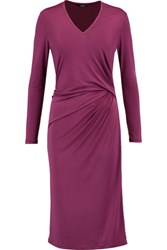 Raoul Gathered Stretch Satin Dress Plum