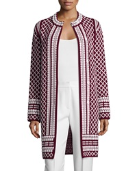 Tory Burch Long Jacquard Sweater Coat