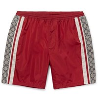 Gucci Wide Leg Long Length Striped Logo Print Swim Shorts Red