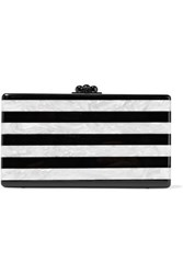 Edie Parker Jean Striped Marble Effect Acrylic Box Clutch White