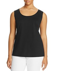 Lafayette 148 New York Plus Long Scoop Neck Tank Black
