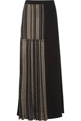 Zeus Dione Pleated Metallic Trimmed Silk Maxi Skirt Black