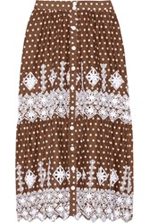 Miguelina Carolina Polka Dot Broderie Anglaise Cotton Midi Skirt Chocolate