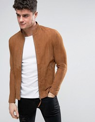 Religion Slim Fit Suede Biker Jacket Tobacco Brown