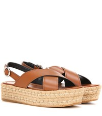 Prada Leather Espadrilles Sandals Brown
