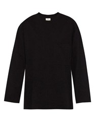 Lemaire Cotton Jersey Long Sleeved T Shirt Black
