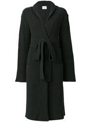 Fine Edge Belted Wrap Dress Cashmere Virgin Wool Grey