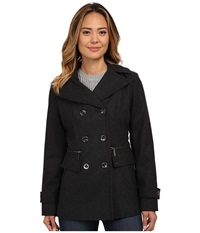 Michael Michael Kors Wool Double Breasted Peacoat Charcoal Women's Coat Gray