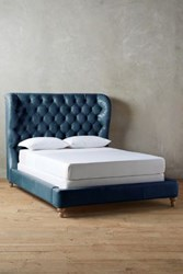Anthropologie Premium Leather Tufted Wingback Bed Marlin
