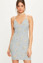 Missguided Blue Floral Strappy Plunge Bodycon Dress Powder Blue