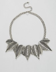 Ny Lon Nylon Statement Leaf Detail Necklace Silver