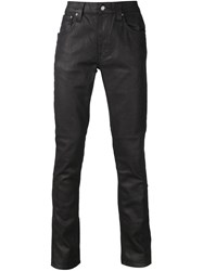Nudie Jeans Co 'Thin Finn Back 2 Black' Faux Leather Effect Jeans
