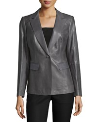 Lafayette 148 New York Stelly One Button Leather Jacket Ash Grey Women's