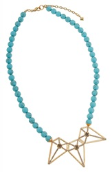 Rebecca Minkoff Turquoise Bead Pendant Necklace Gold Turquoise