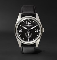 Bell And Ross Br 123 41Mm Steel Leather Watch Black