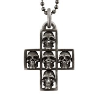 Snake Bones Multi Skull Cross Pendant Necklace Silver