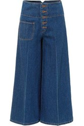 Marc Jacobs Cropped High Rise Wide Leg Jeans Mid Denim