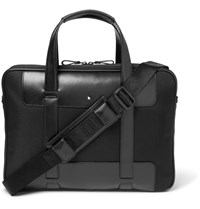 Montblanc Nightflight Leather Trimmed Canvas Briefcase Black