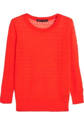 Marc By Marc Jacobs Rose Open Knit Cotton Blend Sweater Red
