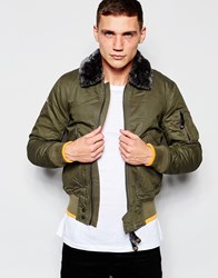 Superdry Aviator Bomber Jacket With Faux Fur Collar Deepkhaki