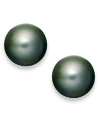 Macy's Pearl Earrings 14K White Gold Black Tahitian Cultured Pearl Stud Earrings 11Mm