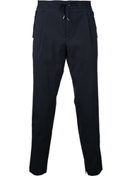 Wooyoungmi Drawstring Textured Trousers Blue