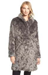 Vera Wang 'Rocha' Faux Fur Coat French Grey