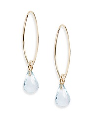 Saks Fifth Avenue Blue Topaz And 14K Yellow Gold Teardrop Earrings Gold Blue