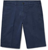 Canali Cotton Blend Twill Shorts Navy