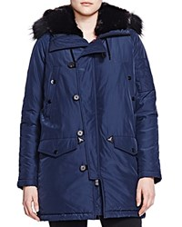 The Kooples Fur Trim Satin Parka Navy