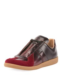 Maison Martin Margiela Replica Burnished Leather Low Top Sneakers Red