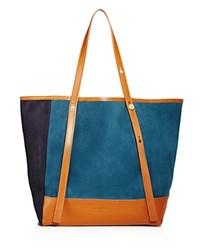 See By Chloe Andy Color Block Suede Tote Peacock Blue Gold