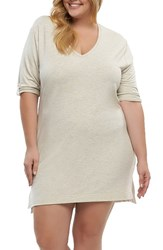 Tart Plus Size Women's Tatyanna Stretch Tunic Heather Oatmeal
