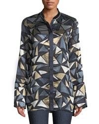 Lafayette 148 New York Desra Colliding Angles Burnout Velvet Blouse Ink Multi