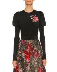 Dolce And Gabbana Floral Embroidered Puff Sleeve Sweater Dark Gray