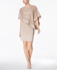 R And M Richards Petite Sequined Cape Sheath Dress Champagne