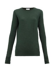 Raey Long Sleeved Slubby Cotton Jersey T Shirt Dark Green
