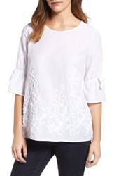 Pleione Women's Embellished Bell Sleeve Blouse White