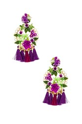 Mercedes Salazar Flower Statement Earrings Purple