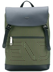 Fendi Striped Logo Backpack Green