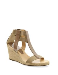 Andre Assous Pippi Patent Leather Wedge Sandals Taupe