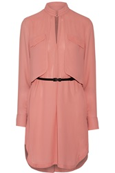 Halston Belted Twill Shirt Dress Pink