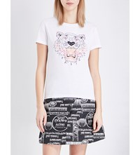 Kenzo Tiger Print Cotton Jersey T Shirt White