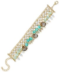 Inc International Concepts Gold Tone Multi Bead Shaky Link Bracelet Only At Macy's