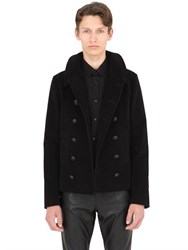 Saint Laurent Double Breasted Cotton Fustian Peacoat