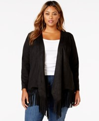 American Rag Plus Size Faux Suede Fringe Cardigan Only At Macy's Classic Black