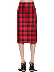 N 21 Plaid Water Resistant Pencil Skirt Red Black