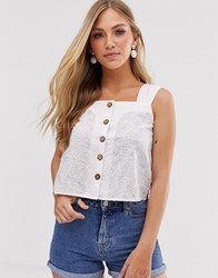 Mango Broderie Button Front Top In White