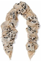 Chan Luu Frayed Printed Modal Cashmere And Silk Blend Gauze Scarf Beige