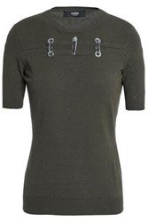 Versus By Versace Embellished Cutout Knitted Top Army Green